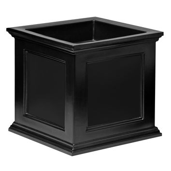 20-inch Black Square Patio Planter