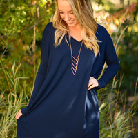 Long Sleeve Piko Dress - Navy
