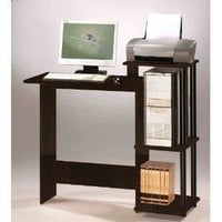 Home Office Computer Desk Writing Table in Espresso Black