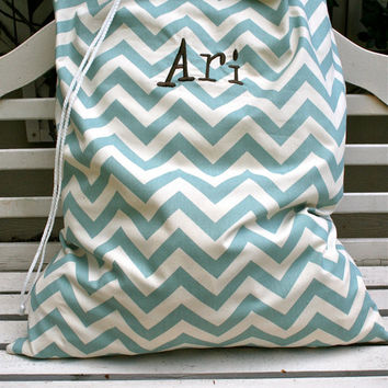 Antique Blue Chevron Laundry Bag- Custom Made to Order (Free Monograming OR Greek Letters)