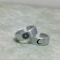 Sun and Moon Rings - Aluminum Rings - Adjustable Rings  - Friendship Rings - Women's Rings - Men's Rings - Pinky Rings - Knuckle Ring