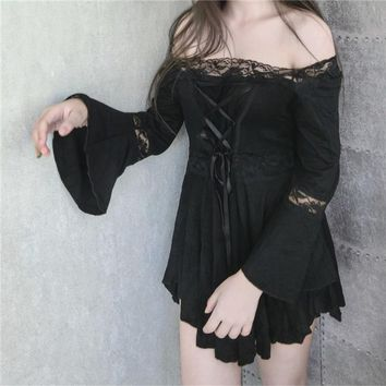 Gothic Lolita Dress Punk Dark theme Kustom kulture black back Front Bandage