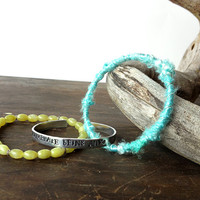 stacking bracelet set gemstone metal sari wrap bracelet set - olive green teal silver