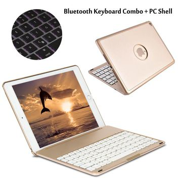 For iPad Pro 9.7 7 Colors Backlit Light Wireless Bluetooth Keyboard Case Cover For iPad Air / Air 2 For iPad 5/ 6 + Gift