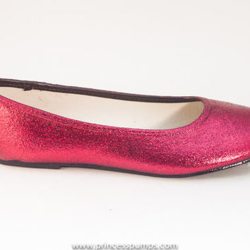 Red Glitter Ballet Flat Slipper Custom Shoes
