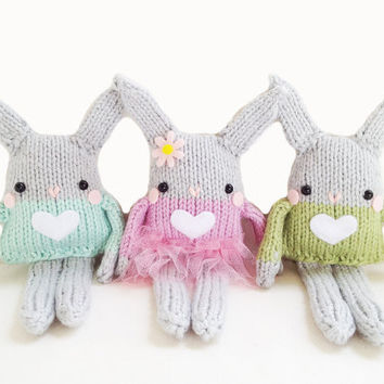 Bunny Knitting Pattern - Mini Bunny Toy Easter Pattern  -  PDF