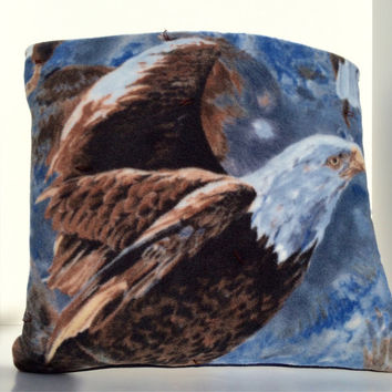 Eagle Fleece Quillow, Eagle quilt, magic pillow, lap quilt, Eagle fleece throw blanket,  fleece blanket