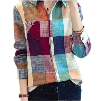 Vintage Plaid Shirt Women Fashion Ladies Tops Women Blouses  Autumn New Blusas Long Sleeve Blouse Women Casual Chemise Femme