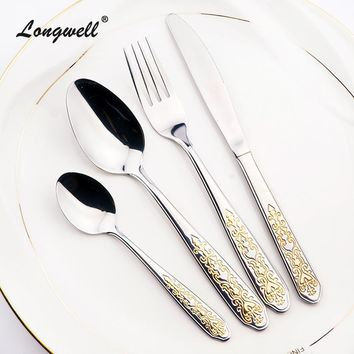 New Fork Gold Plated Dinnerware Set Western Style Cutlery Sets For Dinner Handle Polish Golden Tableware 24 Pieces On Sale