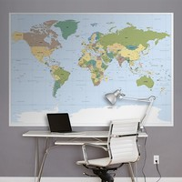 Komar World Map Mural Wall Decal