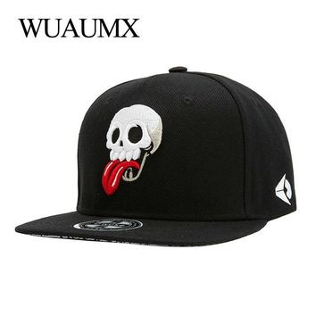 Trendy Winter Jacket Wuaumx Snapback Caps Men Women Embroidery Skull Tongue Baseball Cap Hip Hop Casquette Chapeau Bone Masculino Gorro Snap Back Hat AT_92_12