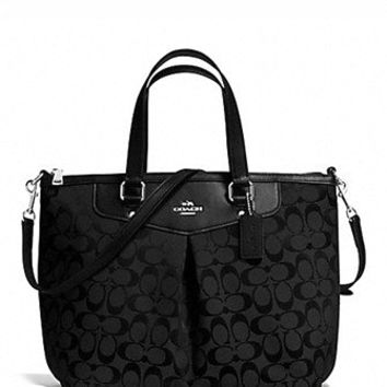 Coach Pleat Tote in Signature Print Jacquard