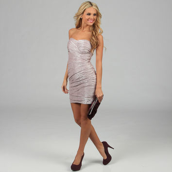 City Triangles Juniors Blush Glitter Ruched Strapless Dress | Overstock.com
