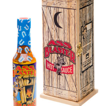 Ass Blaster Hot Sauce: Seriously spicy sauce packaged in a wooden outhouse.