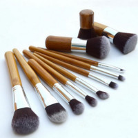 11pcs Bamboo Makeup Tool Cosmetic Brushes