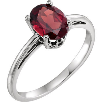 14K White Gold Oval Mozambique Garnet Scroll Set Ring
