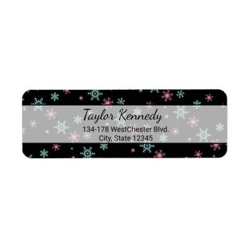 Pink And Blue Snowflake Pattern Christmas Wintery Label