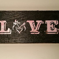 Deer Silhouette Wood Sign - LOVE - Buck and Doe Wall Art - Wedding - Home Decor - Valentine's Day Gift
