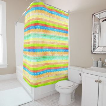 Bright Summer Colors Retro Abstract Stripe Pattern Shower Curtain