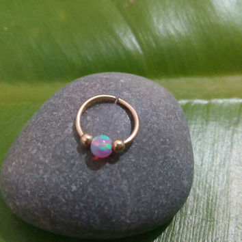 Nose Ring pink opal 14 k gold filled nose ring, nose rings, nose hoops, 20 gauge,nose piercing