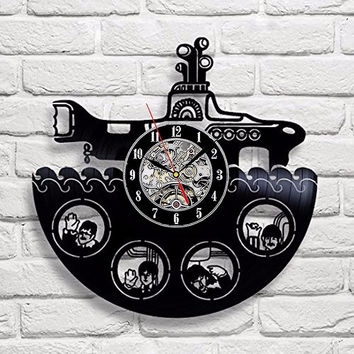 The Beatles Rock Band Yellow Submarine Vinyl Record Design Wall Clock - Decorate your home with Famous Rock Band Style Music Art