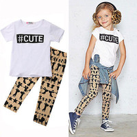 #Cute Girls Outfit, HashTag shirt with pants, Baby Girl Clothes