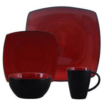 Gibson Elite Soho Lounge Square 16-Piece Dinnerware Set,  Red