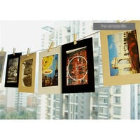 10pcs 6'' Picture Vintage Frame Memorial Photo Paper Hanging Album Frame Clips Rope Photo frame wall Decor Xmas Wedding Party