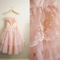 Pink Willow - Vintage 1950s Pale Soft Pink Tool Ruffle Lace Wedding Prom Dress