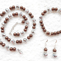 Brown pearl set, mother jewelry necklace bracelet earrings, summer bridal shower, pearl wedding accessories, bridal party, gift for her