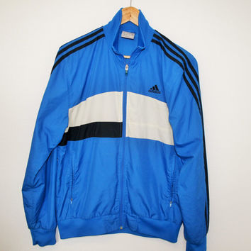 Blue 3 Stripes ADIDAS Windbreaker Trainer Jogging Sports Lightweight Jacket Blue Track Jacket  Anorak  Medium size