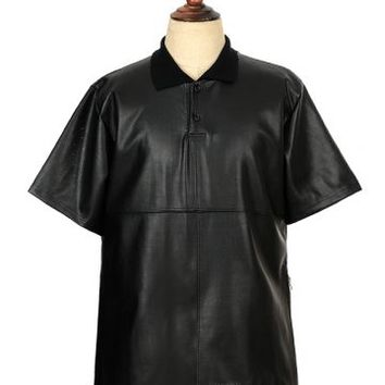 Perforated Faux Leather Polo Shirt QP5