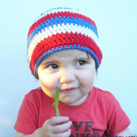 Patriotic Crochet Baby Beanie Hat in red, white and blue stripes, infants 12-18 months, ready to ship.