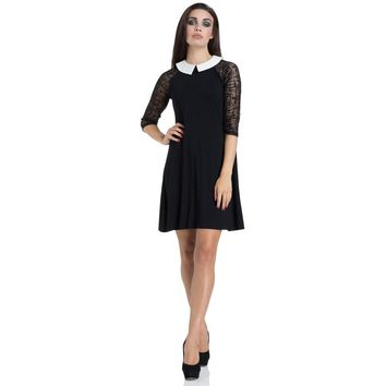 Wednesday Black Mesh Sleeve Dress