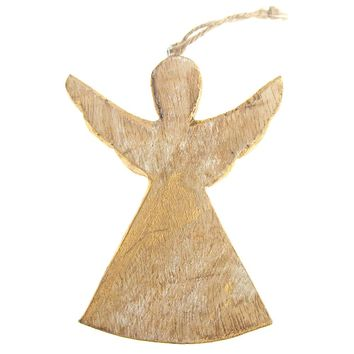 Hanging Wooden Distressed Angel with Wings Christmas Ornament, Gold, 4-3/4-Inch