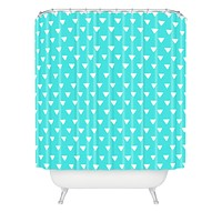 Bianca Green Geometric Confetti Teal Shower Curtain