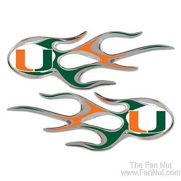 Miami Hurricanes 2-pack Flames Air Puffed Raised Auto Decal Emblem University of