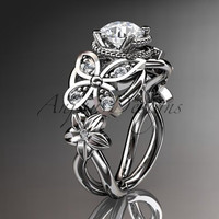 Platinum diamond floral, butterfly  wedding ring,engagement ring,wedding band ADLR136