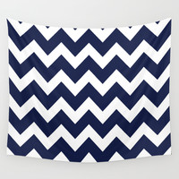 Chevron Navy Blue Wall Tapestry by Beautiful Homes