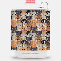 Cute Cats Pattern Handmade Custom Shower Curtain Home & Living 188