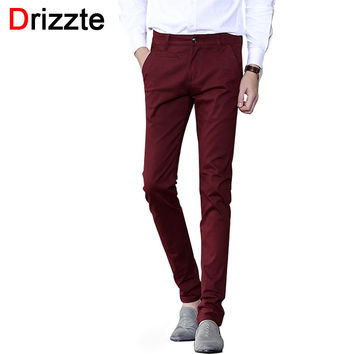 Mens Soft Slim Stretch Cotton Dress Chino Pants Jean Khaki Black Beige Red Grey Trousers