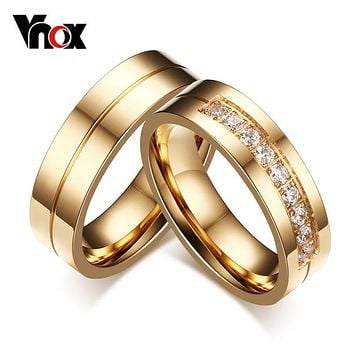 Vnox Trendy Wedding Bands Rings for Love Gold-color CZ Stone Stainless Steel Promise Jewelry