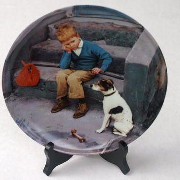 "Boy with Dog Collectible Copenhagen Porcelain Plate ""Hjemme er Bedst or Home is Best"" by Kurt Ard"