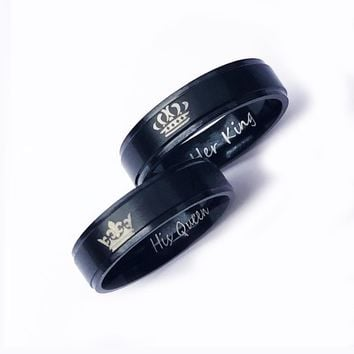 Trendy Popular Black Silver Print Oath Letters Her King His queen Stainless Steel Lover's Rings For Men Women Crown Versus Ring