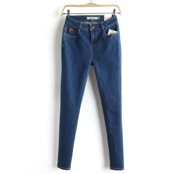 Summer Pants Embroidery Stretch Slim Jeans Skinny Pants [6332324676]