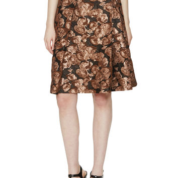 Pink Tartan Women's Alvina Floral Jacquard Pleat Skirt - Gold -