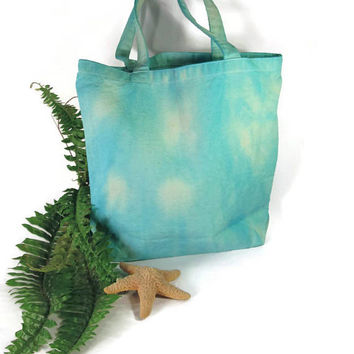 Beach Tote, Canvas Tote Bag, Summer Bag, ECO Friendly, Tie Dye, Tote Bag, Aqua Blue Bag, Medium Tote Bag, Shopping Bag, Book Bag