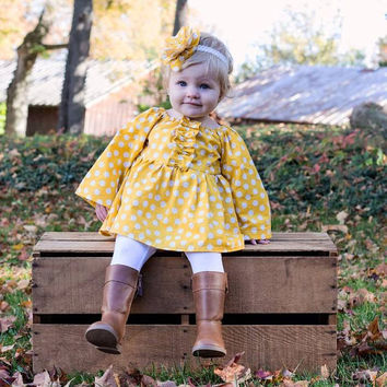 Gold and white polka dot peasant dress! Perfect for fall, summer, spring, birthdays or pictures! Baby, Toddler, Girl. Yellow. Ruffles.