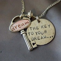 The Key to Your Dream Is to Believe it Inspirational Key Necklace | wirenwhimsy - Jewelry on ArtFire