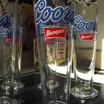 6 Coors Banquet Footed Pilsner Beer Glasses